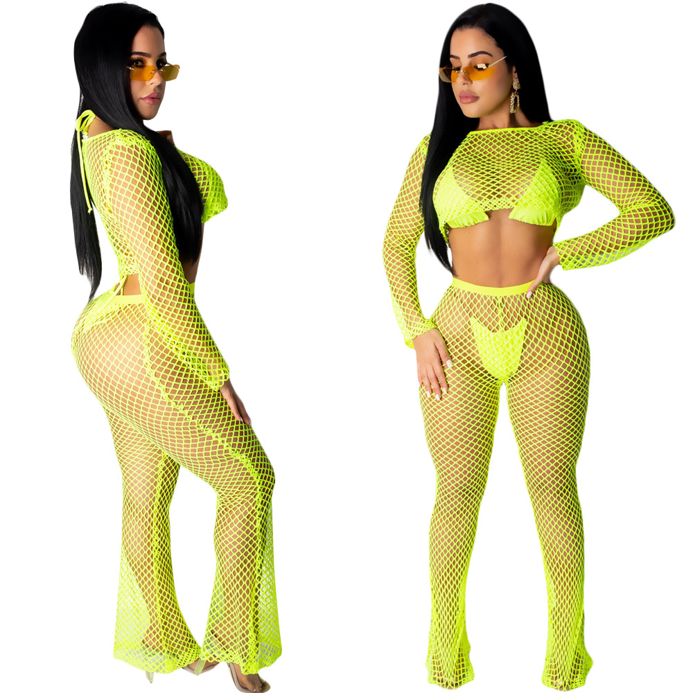 S3569 WOMEN'S Dress Europe And America Summer Sexy Hollow Out Navel Tops Loose Pants Two Piece Set Beachwear