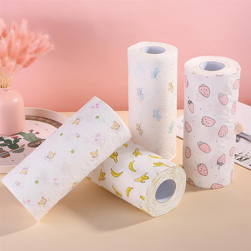 1 Roll Random Color Kitchen Paper Oil & Water Absorbing Disposable Roll Paper Towel Family Printing Rolls Cleaning Paper