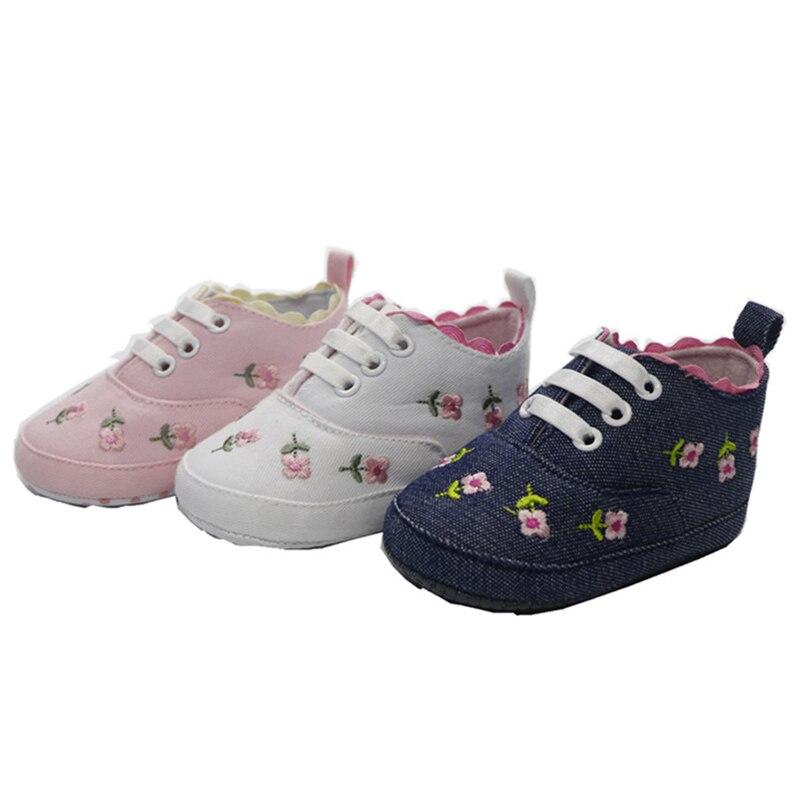 2019 Baby Girl Shoes White Lace Floral Embroidered Soft Shoes Prewalker Walking Toddler Hot Sale Children Shoes Infant Girl Shoe