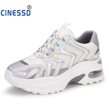 CINESSD Bling Platform Sneakers Women Fashion Thick Bottom Height Increasing 5 CM Casual Chunky Shoes Street Style Daddy