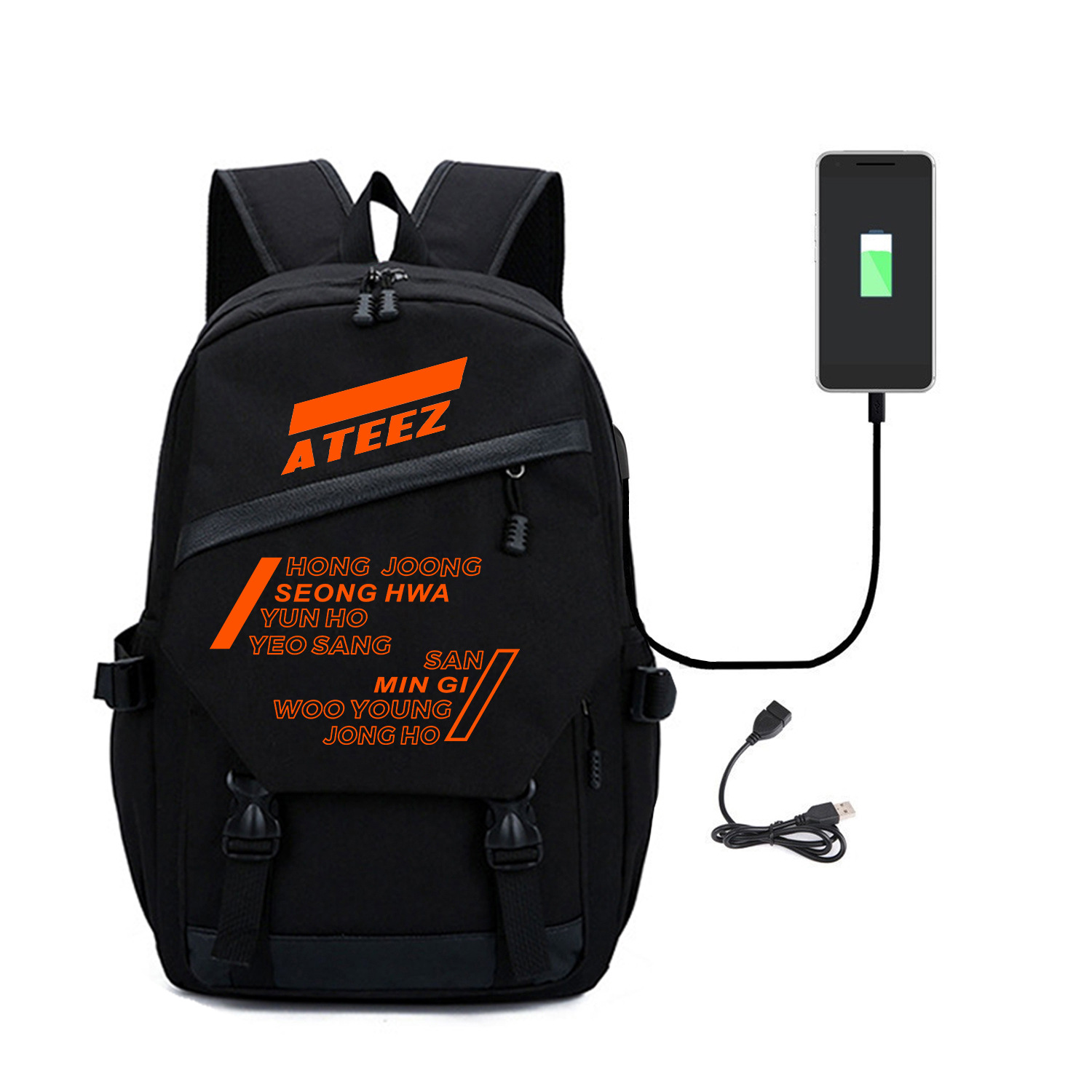 Kpop ATEEZ Backpack Fashion member schoolbag high quality black Backpack peripheral computer bag new arrivals polyester fabrics