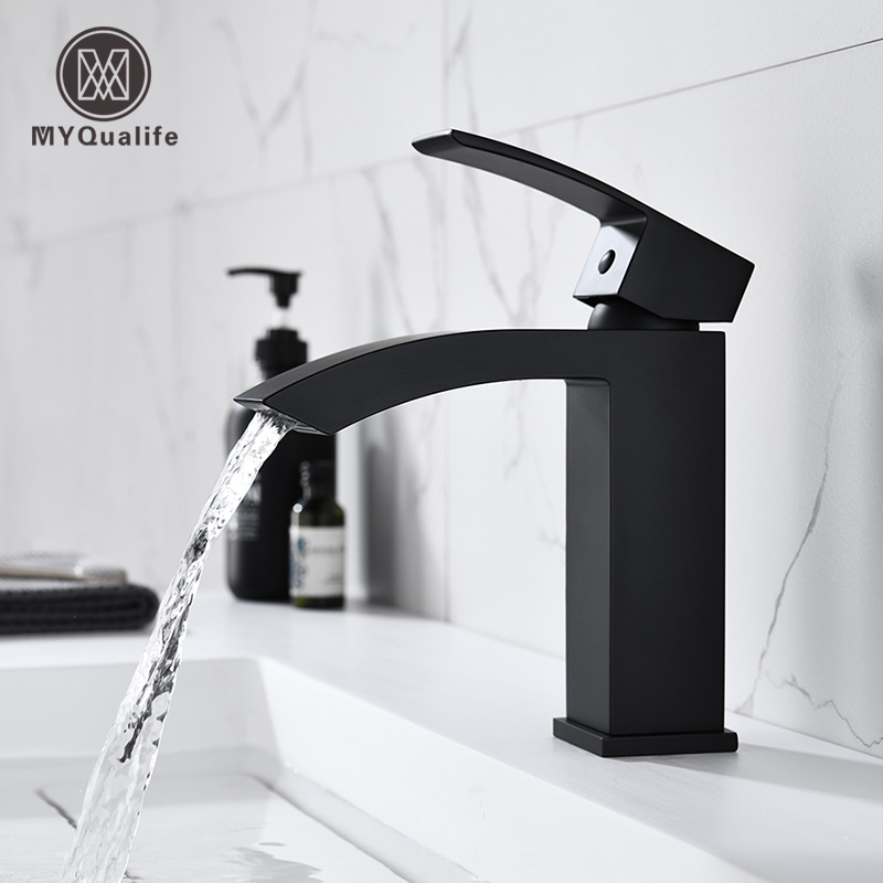 Matte Black Basin Vessel Sinks Mixer Faucet Single Handle Countertop Waterfall Square Bathroom Washing Mixer Taps Deck Mounted