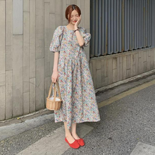 Vestido feminino vestido de manga de espuma retro francês vestido floral para mulher mais tamanho ruched vestido de roupa feminina plus size overside vestido