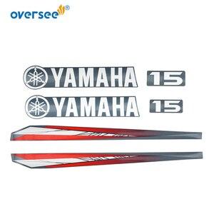 Image 2 - 63W 42677 Yamaha 15 hp dıştan takma çıkartmaları etiket seti deniz vinil üst düşürme etiket 63V W0070 11