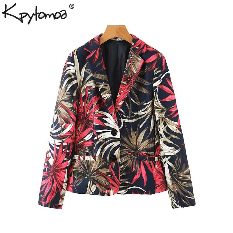 Vintage Stylish Office Lady Floral Print Blazer Coat Women 2019 Fashion Notched Collar Long Sleeve Ladies Outerwear Chic Tops