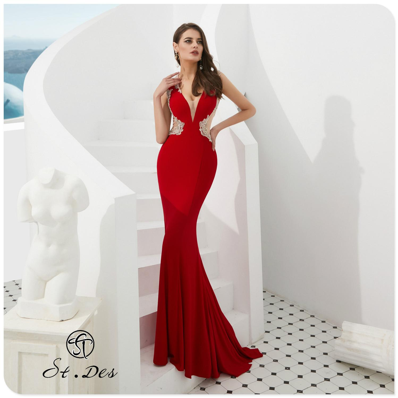 NEW 2020 St.Des Mermaid V-neck Russian Red Tassel Beading Sleeveless Designer Floor Length Evening Dress Party Dress