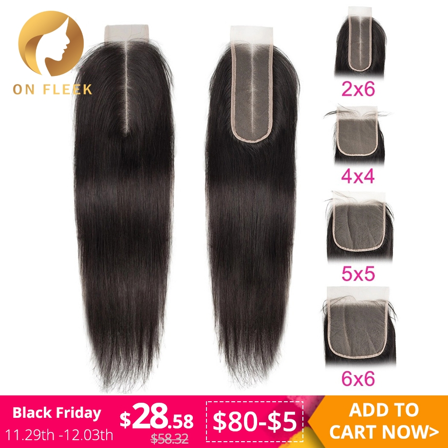 Brazilian Human Hair Lace Closure Straight 2x6 Transparent Lace Closure With Pre Plucked Baby Hair Bleached Knot Free Shipping
