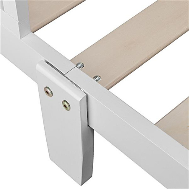 Wooden Baby Toddler Bed Children Bedroom Furniture with Safety Guardrails White 6