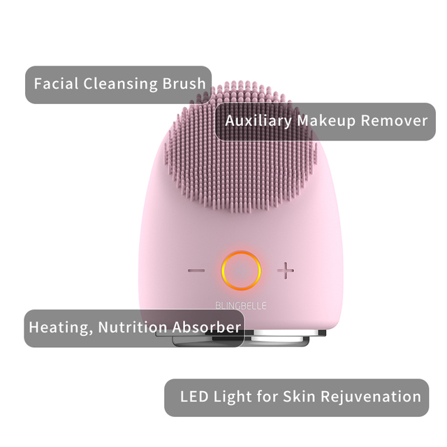 BLINGBELLE Silicone Makeup Remover LED Light Therapy Heating Pore Cleaner Warm Cleansing Face Brush Beauty Egg 4 in 1 2