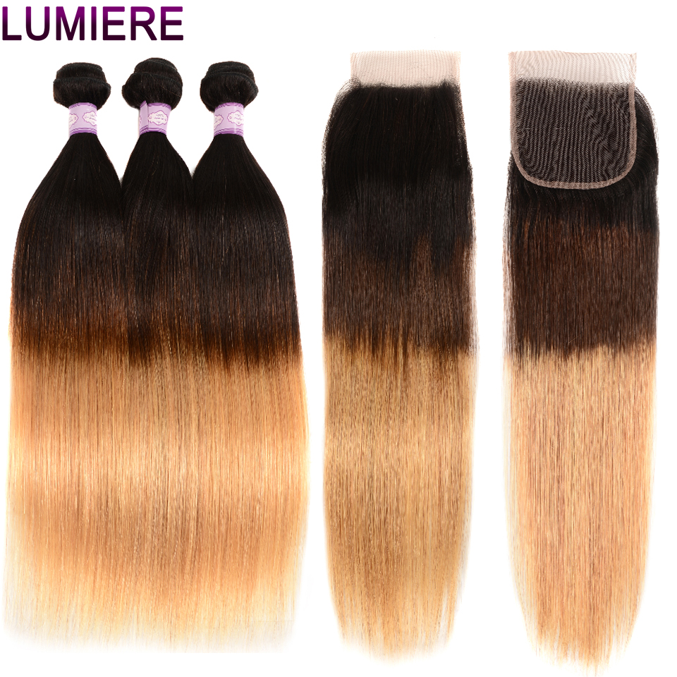 Lumiere Hair Peruvian Straight Ombre Bundles With Closure 3 Human Hair Bundles With 4X4 Closure T1B