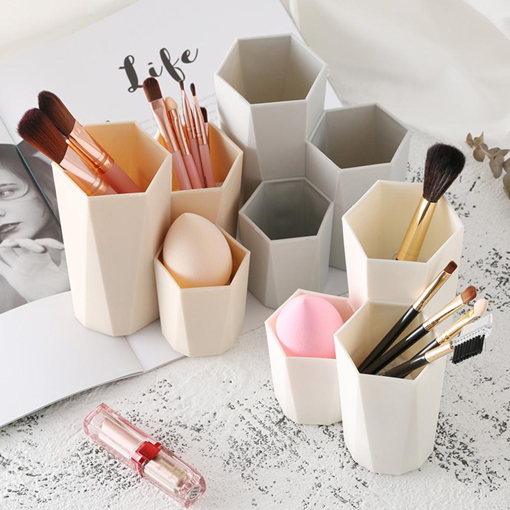 Plastic Desk Cosmetic Storage Box Lipstick Brushes Holder Organizer Makeup Tool
