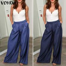 VONDA Fashion Demin Pants Women 2019 Spring Summer Vinatge Casual Loose Pockets Baggy Wide Leg Femme Trousers Plus Size