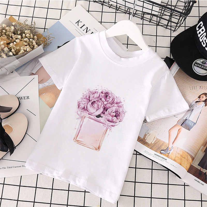 流行子供 Tシャツ夏半袖 Tシャツ面白い花と香水パターン印刷白服かわいい漫画の女の子トップス
