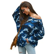 Women's Autumn Knit Off Shoulder Camo Oversized Camouflage Tops Pullovers Jumper D0UD