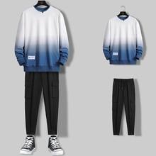 Casual Tracksuit Sets Hoodie Pants Streetwear Loose Mens Hip-Hop Autumn Spring Gradient-Color