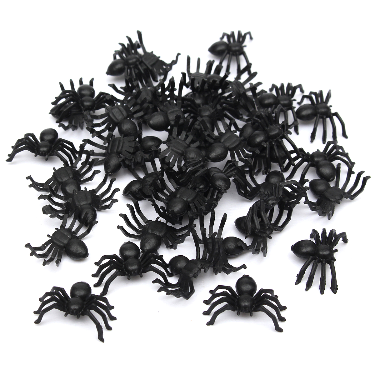 50Pcs/Set Funny Toys Halloween Decorative Spiders Small Black Plastic Fake Spider Toys Novelty Joke Prank Realistic Props