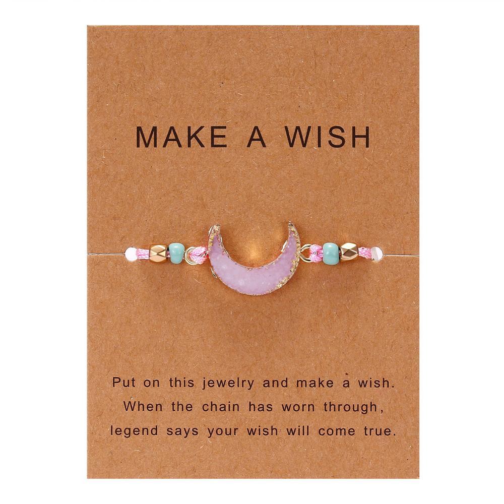 Rinhoo 1 шт. ручной работы сделать пожелание картон красочные Луна Форма из смолы плетеный браслет для женщин модные ювелирные изделия подарок - Окраска металла: BR18Y0723-4