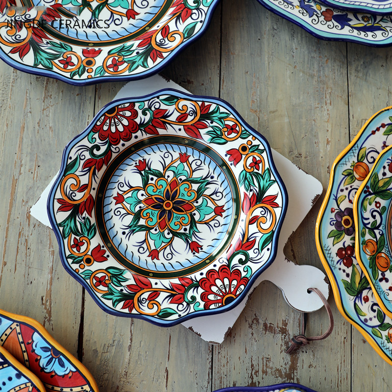 1617.0¥ 20% OFF 1Pcs Bohemian Style Hand painted Ceramic Plate Delicate Flower Tableware Western St...