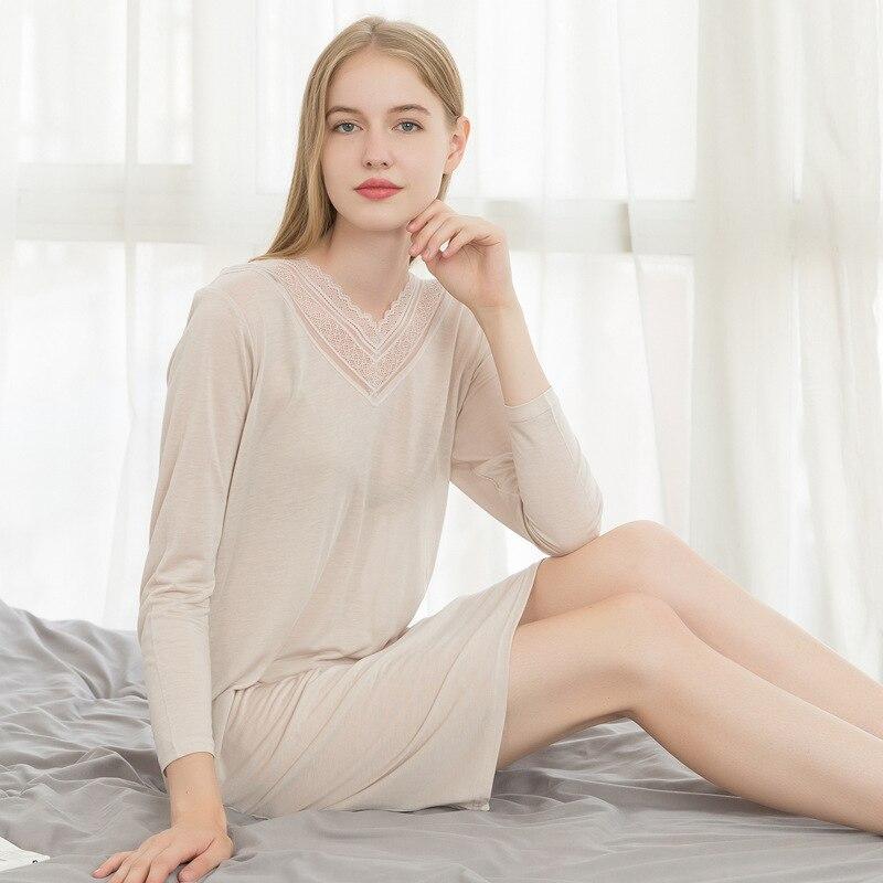 10% Silk 90% Lyocell Women Underwear Women's Sleep Lounge Woman Soft   Nightgowns   Loose Female   Sleepshirts