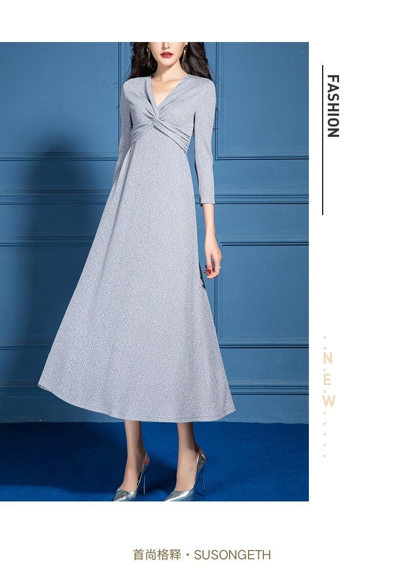 2021 Spring New Casual Cross V Neck A Line Dress for Women