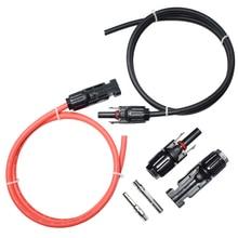 Cable de extensión del Panel Solar, Cable de cobre negro y rojo con conector solar PV de 4mm cuadrados/2.5mm2 10/12AWG, 1 par