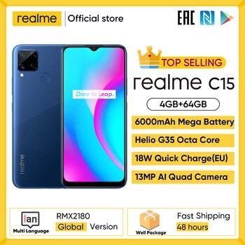 Перейти на Алиэкспресс и купить Realme C15 глобальная версия смартфон 4 Гб Оперативная память 64 Гб Встроенная память 6000 мА/ч, большая Батарея Quick Charge мобильный телефон 6,5 дюймов ...