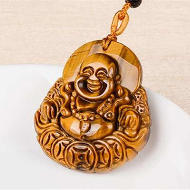 中国ナチュラル虎目石笑い仏ペンダントネックレスジュエリー手彫りリラックス治癒女性男性ギフト送料ロープ