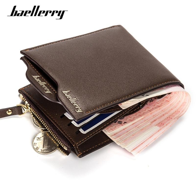 Baellerry Short Male Wallet Vintage Card Holder Zipper Coin Pocket Men Clutch Money Wallet Purse ID Blocking Mini Slim Wallets