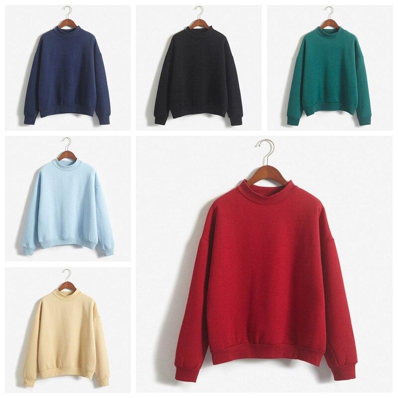 Solid Color Sweatshirt Women Casual Fashion Winter Autumn Ladies Pullover Fleece Pink Blue Grey Black Streetwear