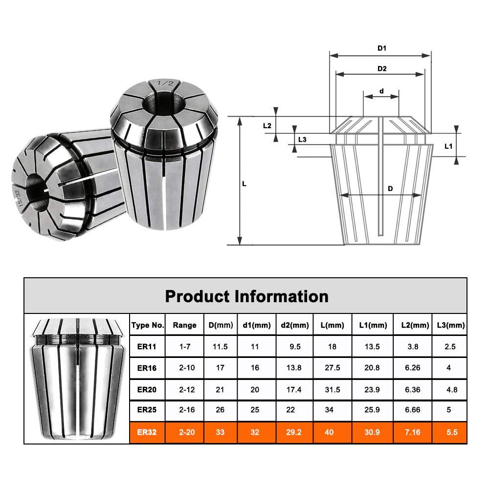 Tuneway 15Pcs ER25 Collet Tool Precision Spring Collet Set de 2 Mm una 16 Mm Mandril de Collar CNC para Herramientas de Torno de Fresado y Motores de Husillo