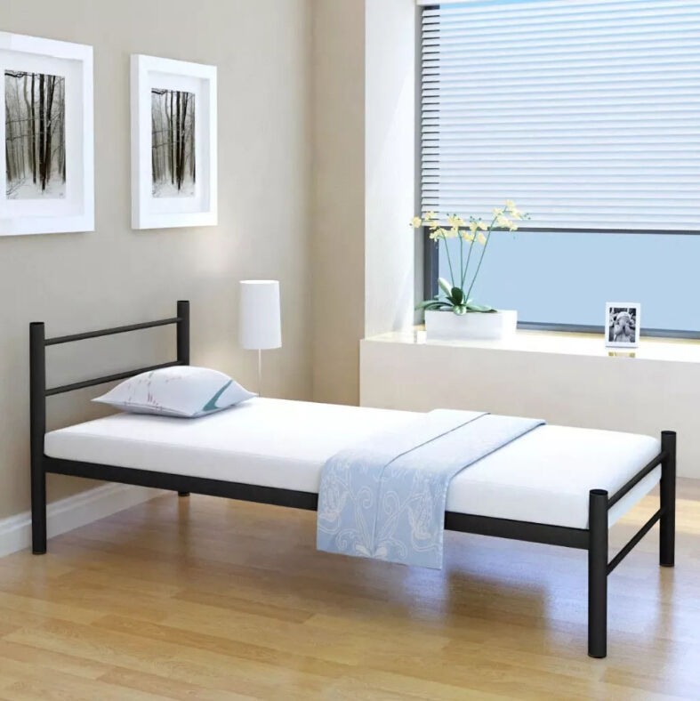 VidaXL Modern Simple Bed Frame Metal Black Iron Art Sheet Person Powder-Coated Frame High-Quality Mattress 90x200 Cm