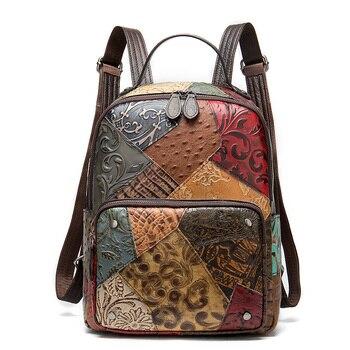 Vintage Women Backpacks Genuine leather Floral School Bag for Girls Zip Female School Backpack Patchwork Daypack
