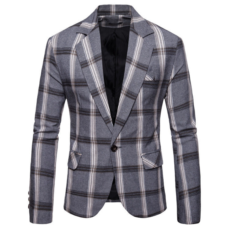 Ouma 2018 Autumn And Winter New Style Plaid Casual Men's Fold-down Collar Business Pattern Suit