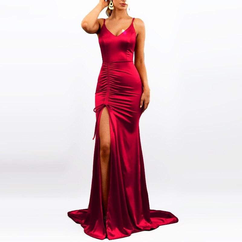 Длинное атласное платье с разрезом спереди, с бретельками и открытой спиной, без рукавов, сексуальное платье Русалочки, вечерние платья мак...
