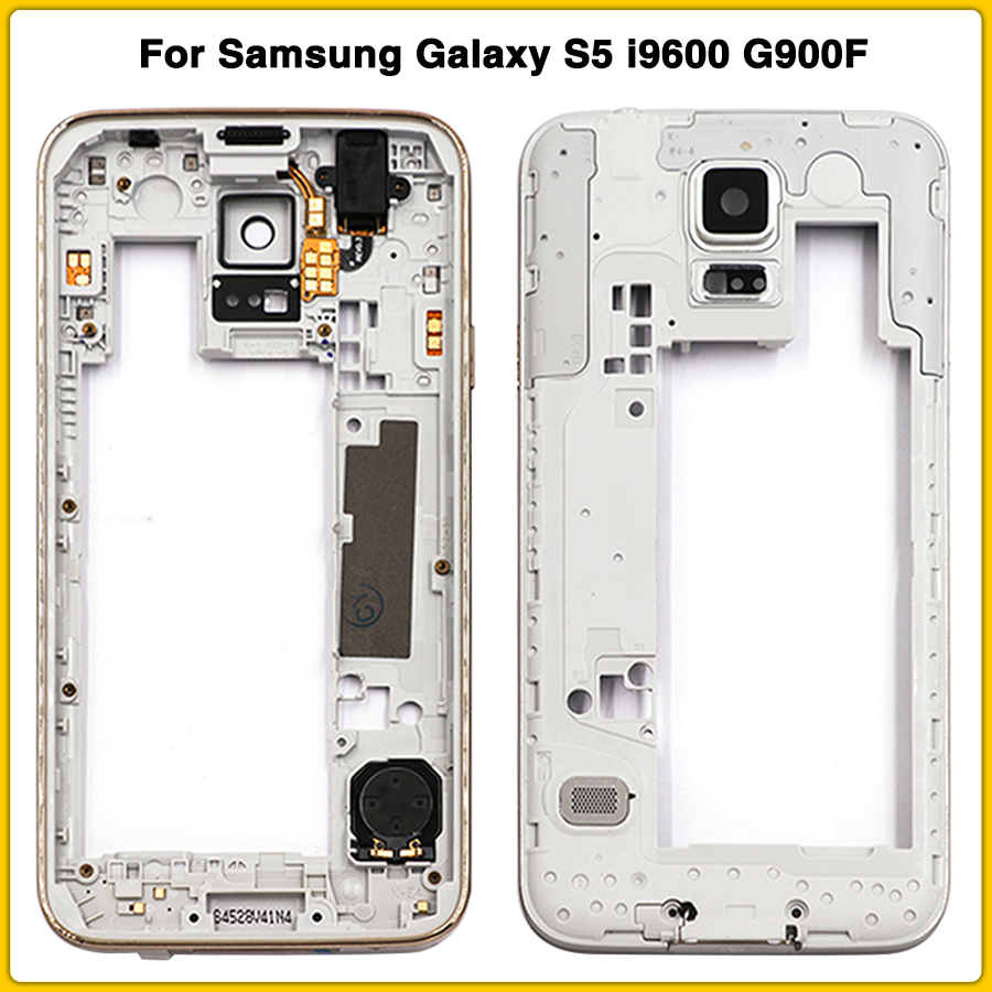 New S5 Middle Frame For Samsung Galaxy S5 I9600 G900F G900H Middle Bezel Back Frame Housing Cover With Camera Lens