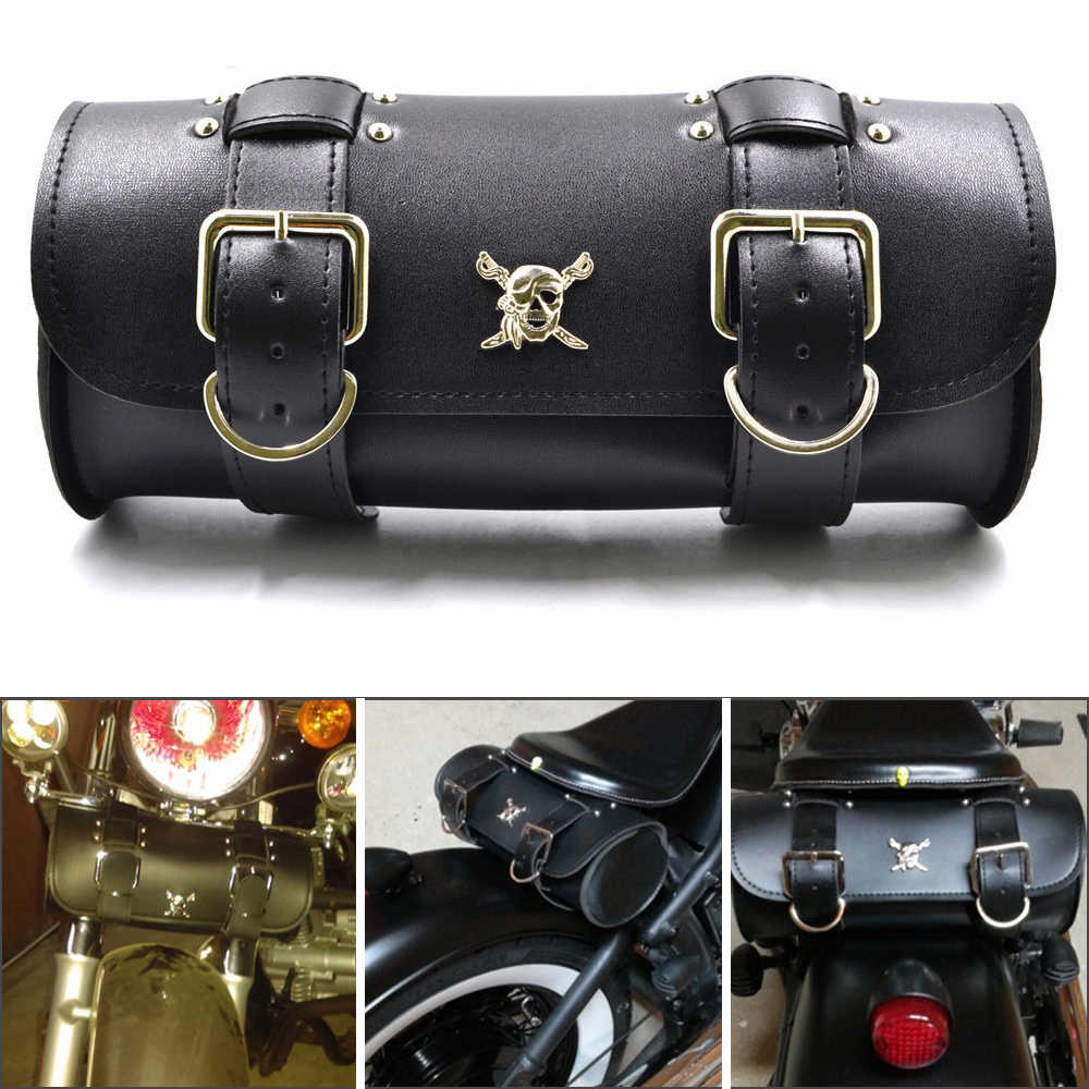 Neue Motorrad Satteltaschen PU Leder Gabel Schwanz Werkzeug Tasche Gepäck Für Harley Chopper Bobber Cruiser Sportster XL 883 1200