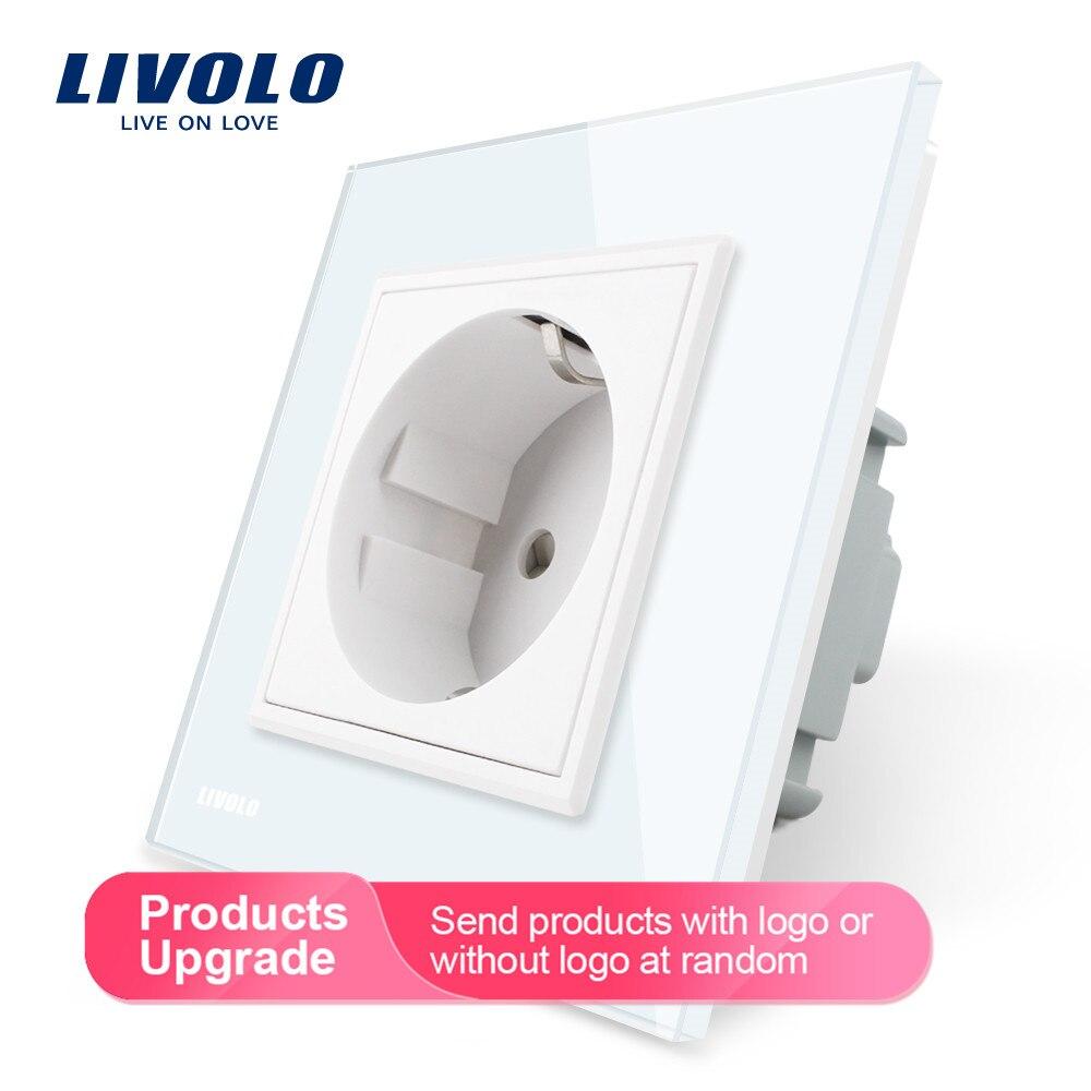 Toma de corriente estándar Livolo EU, Panel de cristal blanco, toma de corriente de pared AC 110 ~ 250V 16A, VL-C7C1EU-11
