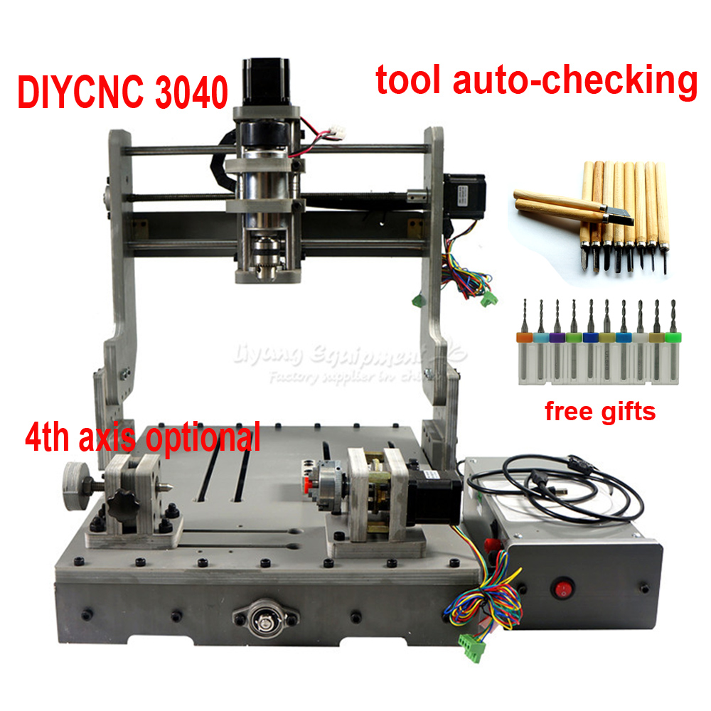 DIY cnc router machine 3040 engraving machine 3 4 axis wood pcb pvc Drilling and Milling Machine mach3 USB port ER11 collet