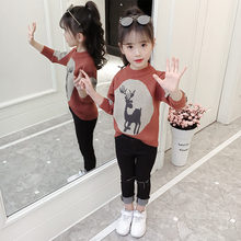Teenage Girls Sweater with Deer Spring Autumn Style Baby Christmas Patterns Knitted Clothing Kids New Year Knitwear