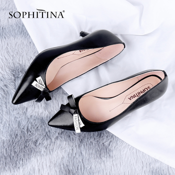 SOPHITINA Office Women Pumps Concise Pointed Toe Thin Heels Butterfly-Knot Decoration Shoes High Quality Sheepskin Pumps PC643