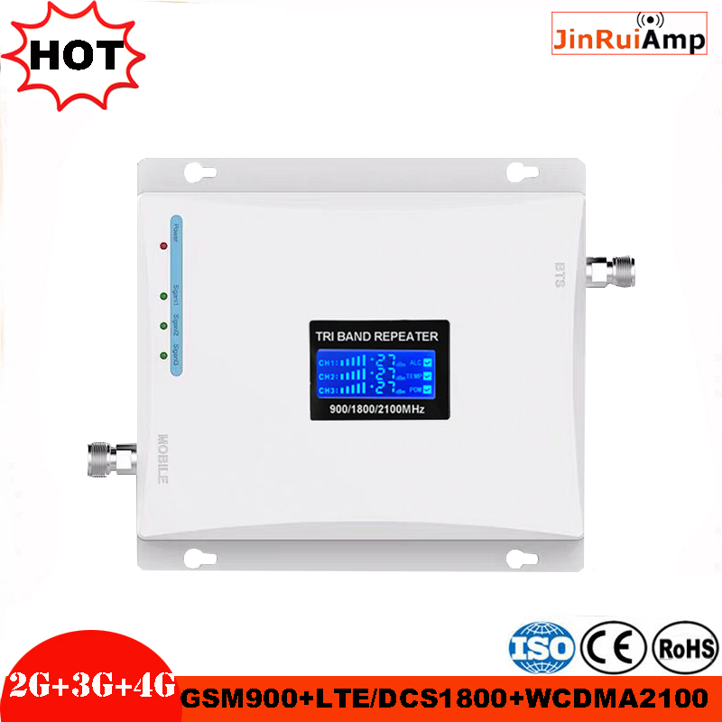 Gain 70dB 2G 3G 4G Tri Band Repeater Mobile Signal Booster For GSM 900MHz+DCS LTE 1800MHz+WCDMA UMTS 2100MHz Amplifier With LCD
