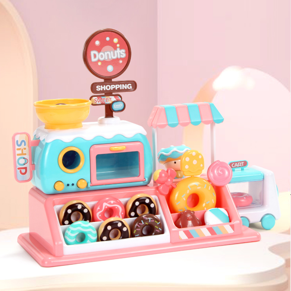 Play Kitchen Accessories Set For Kids - Simulation Oven & Donuts With Music And Light,Boys & Girls Fake Food Pretend Playset