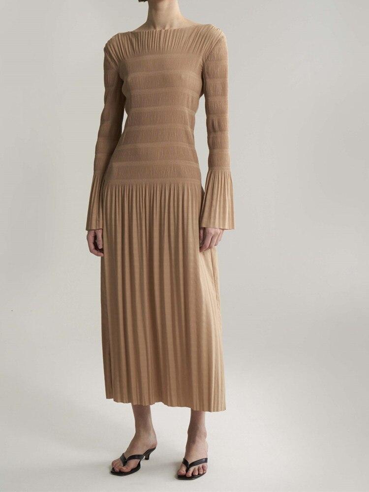 2019 Новое Женское платье миди осенне зимнее плиссированное платье с коротким рукавом, женские длинные платья, повседневная одежда