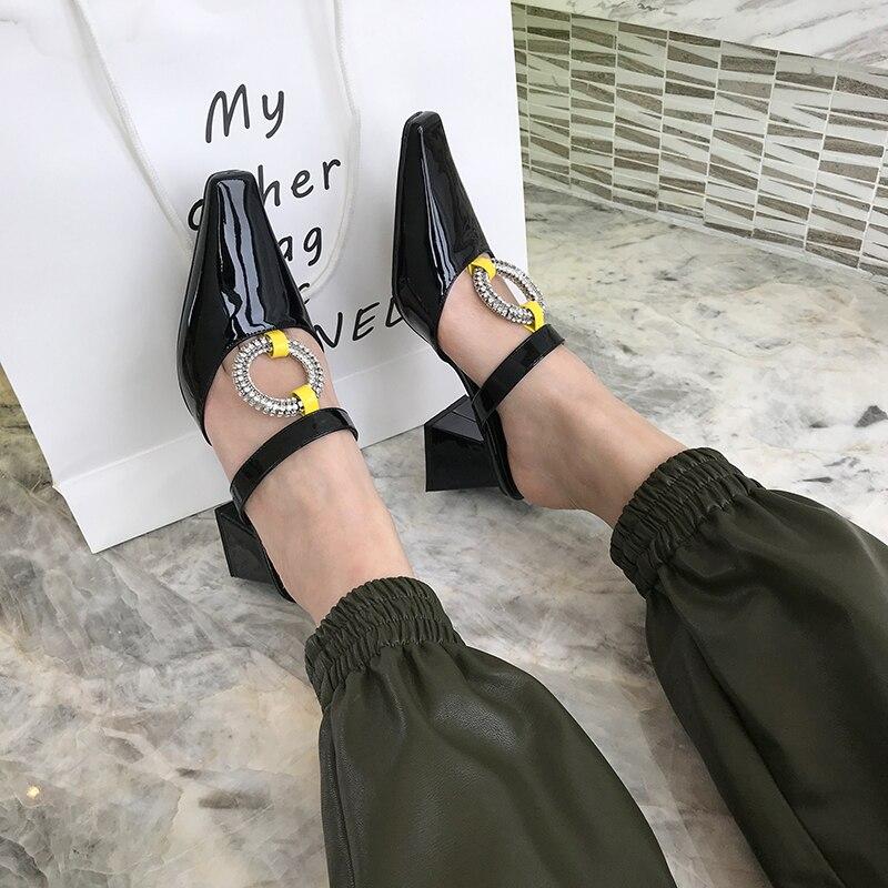 Elegant Women Fashion Sandals Slippers Square Rhinestone Hollow Design Ring Slip On Slides Block High Heels Shoes Woman Slippers