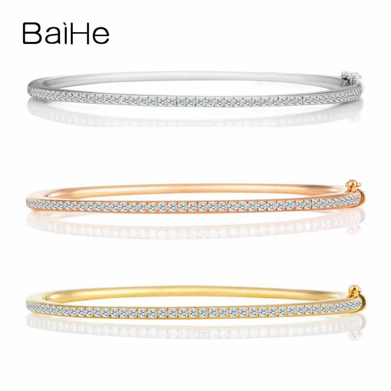 BAIHE Solid 18K White Gold SI/H Round cut Total 0.72ct 100% Natural Diamonds Women Engagement Trendy Fine Jewelry Gift Bracelet