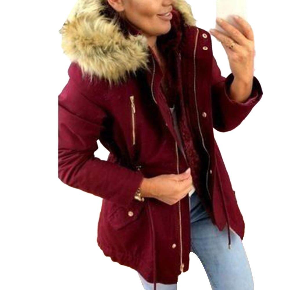 Autumn 2019 New Basic Jackets Female Women Winter Plus Velvet  Hooded Coats Cotton Winter Jacket Womens Outwear Womens Blouse