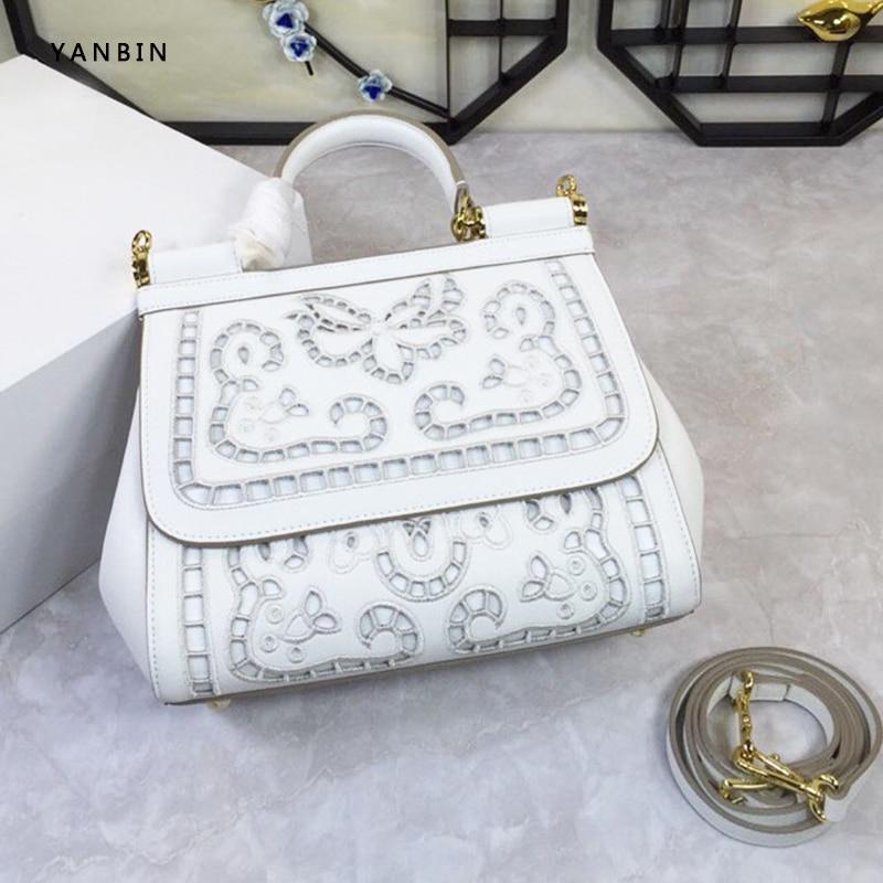 Italian Hollow out design shoulder bags for women 2020 genuine leather luxury handbag designer print women bag Flowers ladies