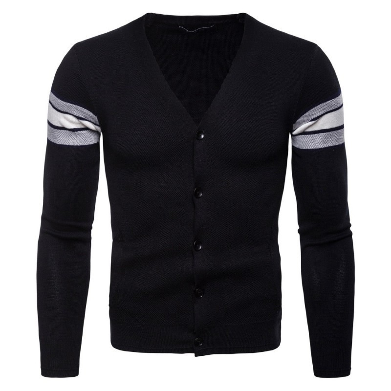 2020 New Fashion V Neck Male Cardigans Casual Single Breasted Cardigans Outwear Comfort Knitted Sweaters For Men Slim Fit Coats