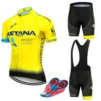 Neue 2019 BLAU Astana Radfahren team jersey 9D bike shorts set Quick Dry Herren Fahrrad kleidung team pro BIKE Maillot culotte