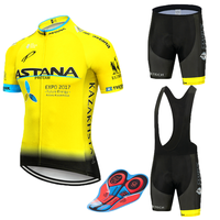 New 2019 BLUE Astana Cycling team jersey 9D bike shorts set Quick Dry Mens Bicycle clothes team pro BIKE Maillot Culotte